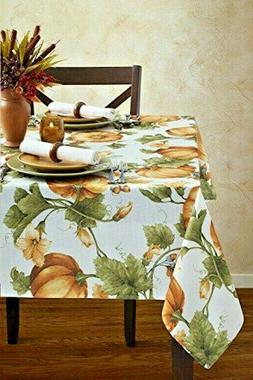 Pumpkin Trellis Fabric Tablecloth Thanksgiving Fall 60x84 Ov