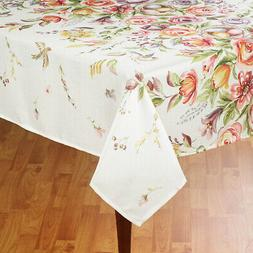 Rectangle Tablecloth Enchanted Spring 60 x 84 Flowers Birds