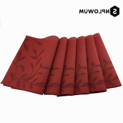 Red Placemats Rectangle Washable Vinyl Placemats for Kitchen
