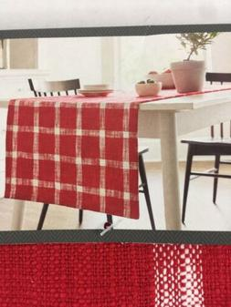 Red Table Runner Plaid Extended Length Width Threshold NWT 2