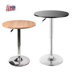 Adjustable Round Pub Bar Table Swivel Wood Top Chrome Base B