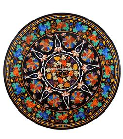 Round Dining Marble Handmade Table Top Inlay Floral With Gra