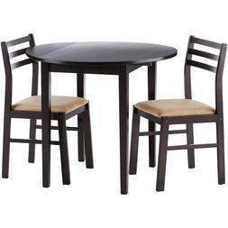 Round Dining Table Set Modern 3 Pcs Kitchen Room Breakfast F