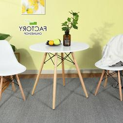 Round Dining Table White Kitchen Modern Leisure Pedestal Cof
