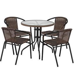 "Flash Furniture 28"" Round Glass Metal Table Dark Brown Ratta"