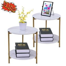 Round Nesting Set of 2 End Table Home Living Room Rustic Whi