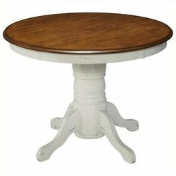 Bowery Hill Round Pedestal Dining Table in Oak and Rubbed Wh