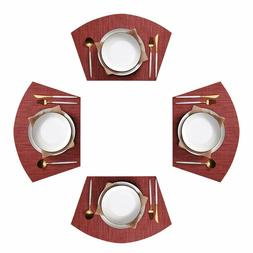 Round Table Placemats Set of 4 Wedge Washable Table mats for