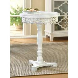 round matte white distressed carved wood Shabby pedestal End