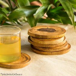 Round Wooden Handcrafted Coasters Set for Dining Table Cum T