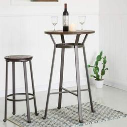 Glitzhome Rustic Steel Bar Table Round Wood Top Dining Room