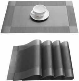 Set of 4 PVC Placemats Non-Slip Heat Insulation Dining Table
