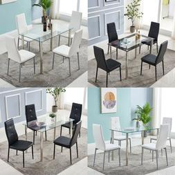 Set of 5 Modern Dining Room Set Glass Metal Table and 4 Chai