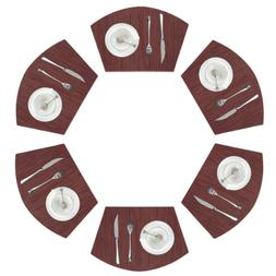 Pauwer Set of 6 Wedge Placemats for Round Dining Table Woven