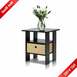 Wooden End Side Bedside Table Nightstand Bedroom Decor w/ Dr