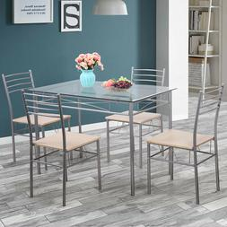Silver 5 Piece Dining Set Table Glass and 4 Chairs Glass Top