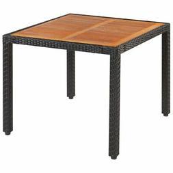 """vidaXL Solid Wooden Outdoor Table Poly Rattan 35.4"""" Garden D"""
