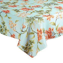Springtime Blossoms on Blue Print Zippered Umbrella Fabric T
