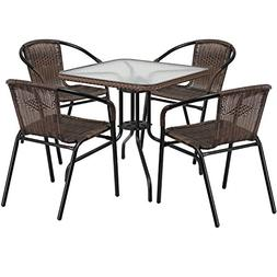 "Flash Furniture 28"" Square Glass Metal Table, Dark Brown Rat"