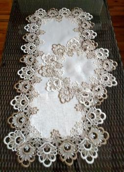 Table Runner Dresser Scarf Taupe Flower Lace Antique White 3