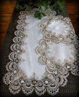 """Table Runner Dresser Scarf Taupe Lace Antique White 36"""" PLUS"""