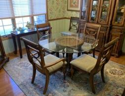 TABLE WITH GLASS COUNTER TOP AND CHAIRS