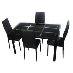 Tempered Glass Dining Table+ 4Pcs High Backrest Dining Chair
