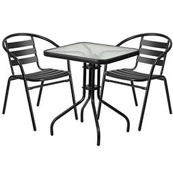Flash Furniture TLH-0731SQ-017CBK2-GG Table And 2 Stack Chai