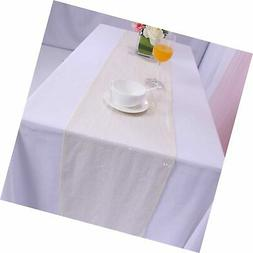 BalsaCircle TRLYC 12x90-Inch Sparkly Ivory Sequin Table Runn
