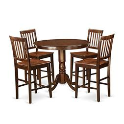East West Furniture TRVN5-MAH-W 5 Piece Pub Table and 4 Kitc