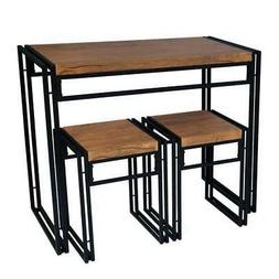 urb SPACE Urban Small Dining Table Set Black 3-Piece Sets