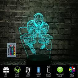 USB Cartoon SpiderMan 3D Table Atmosphere Lamp LED Night lig