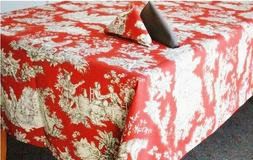 LE CLUNY, VILLANDRY RED FRENCH PROVENCE COATED COTTON TABLEC