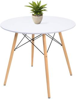 "White Round Dining Table 32"" Modern Pedestal Small Circle T"