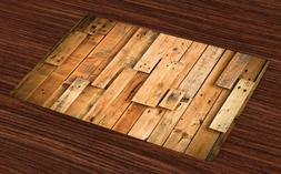 Wood Print Placemats Set of 4 Lodge Style Teak Vintage For D