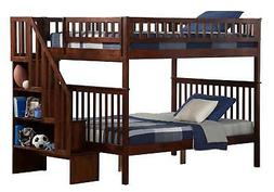 Atlantic Furniture Woodland Staircase Bunk Bed Antique Walnu