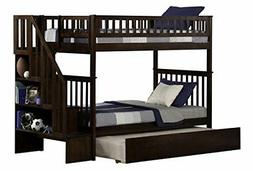 Woodland Staircase Bunk Bed with Urban Trundle, Antique Waln