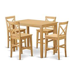 East West Furniture YAPB5-OAK-W 5 Piece High Table and 4 Cou